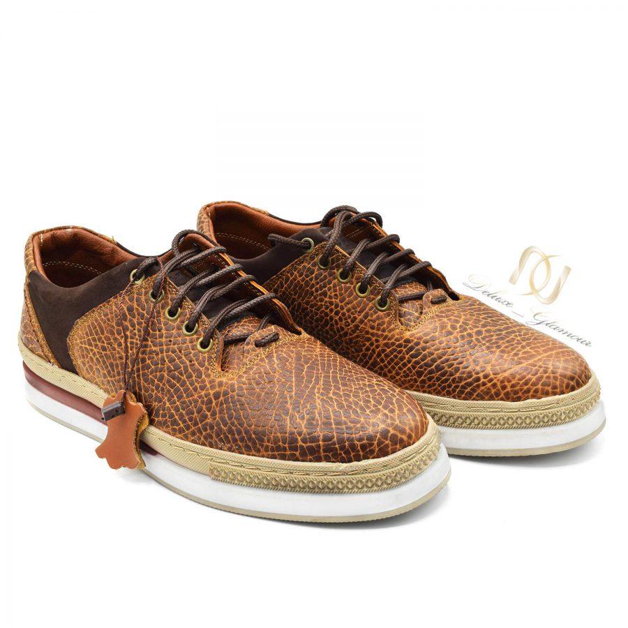کفش مردانه چرم تمام دست دوز sh-n113 از نمای سفید