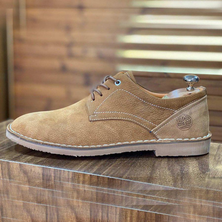 کفش مردانه چرم رنگ عسلی sh-n136 از نمای روبرو