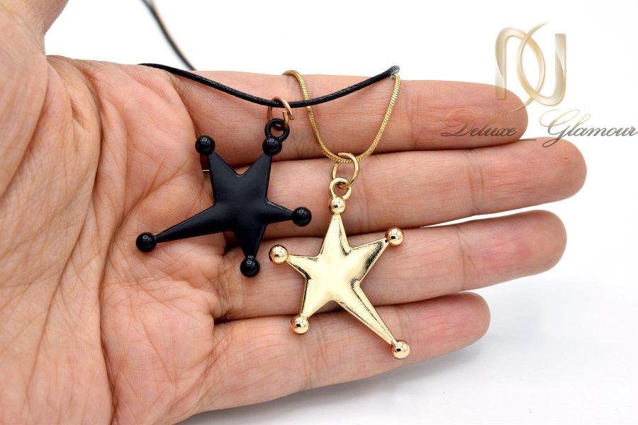 گردنبند رولباسی طرح ستاره دو ردیفه nw-n676 از نمای روی دست