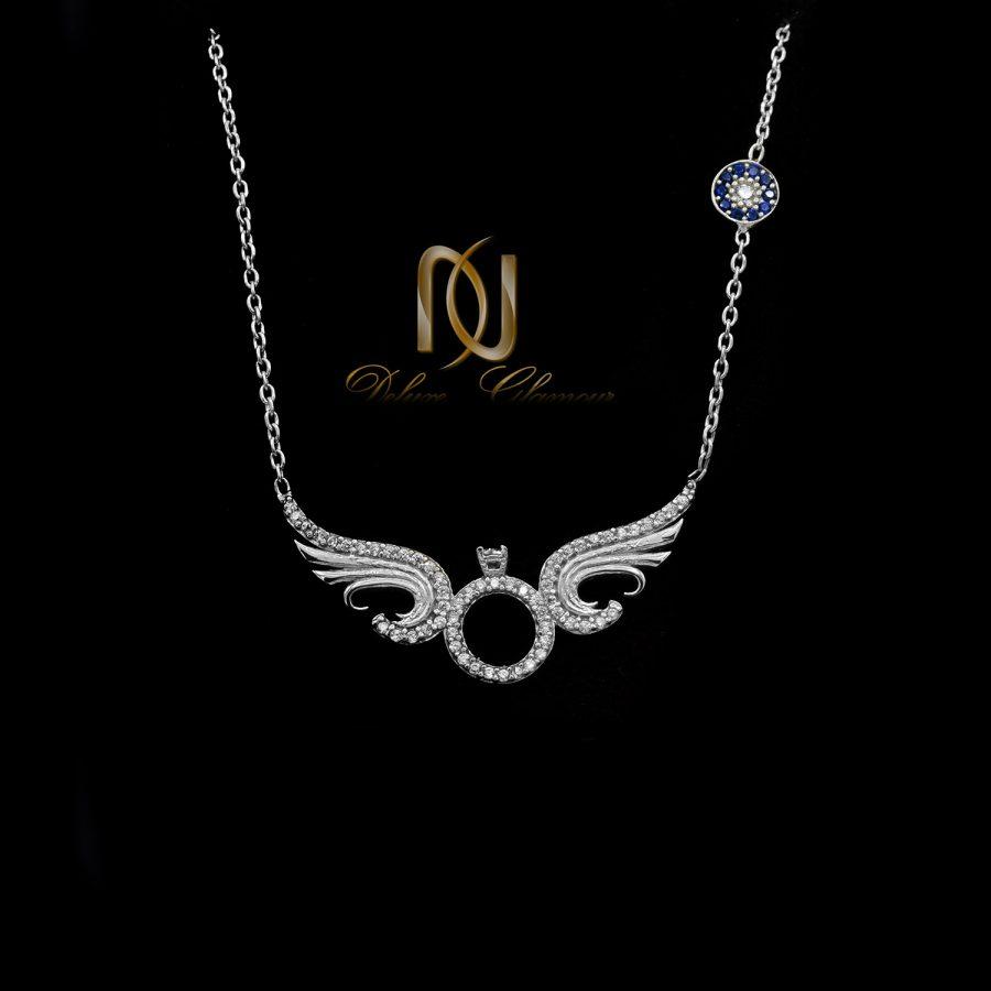 گردنبند نقره دخترانه خاص نگین دار nw-n671 از نمای مشکی
