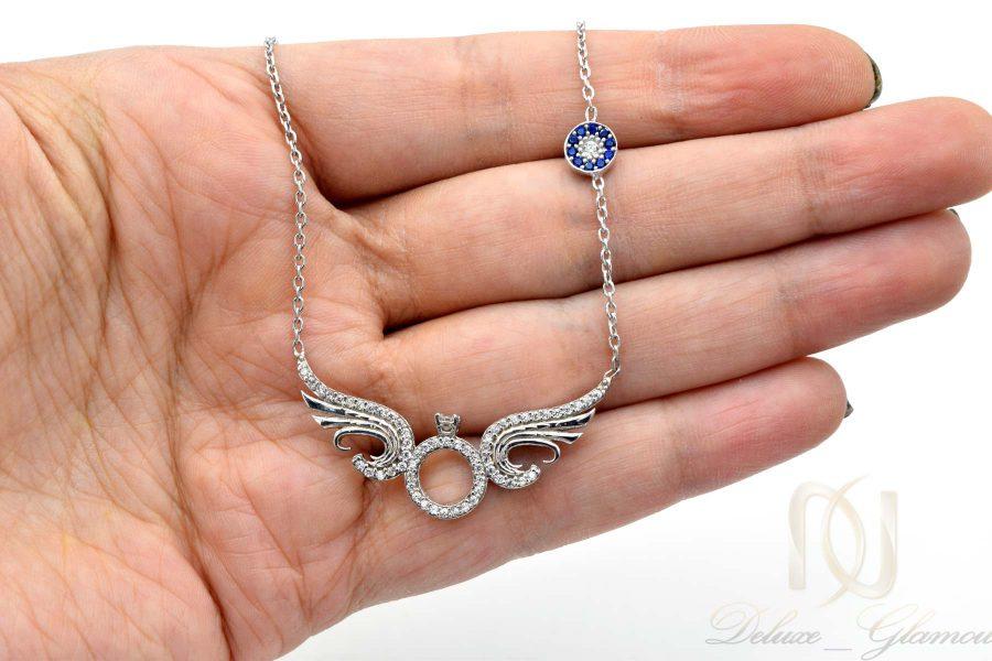 گردنبند نقره دخترانه خاص نگین دار nw-n671 از نمای روی دست