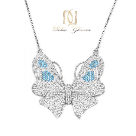 گردنبند نقره زنانه طرح پروانه بزرگ nw-n670 از نمای سفید