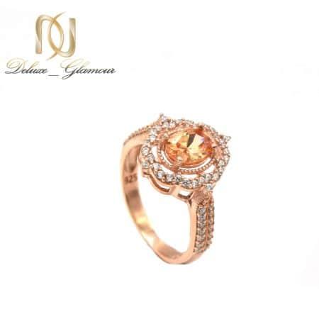 انگشتر نقره رزگلد نگین دار جواهری rg-n509 از نمای روبرو