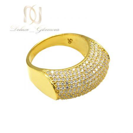 انگشتر نقره زنانه هزار نگین طلایی rg-n504 از نمای بالا