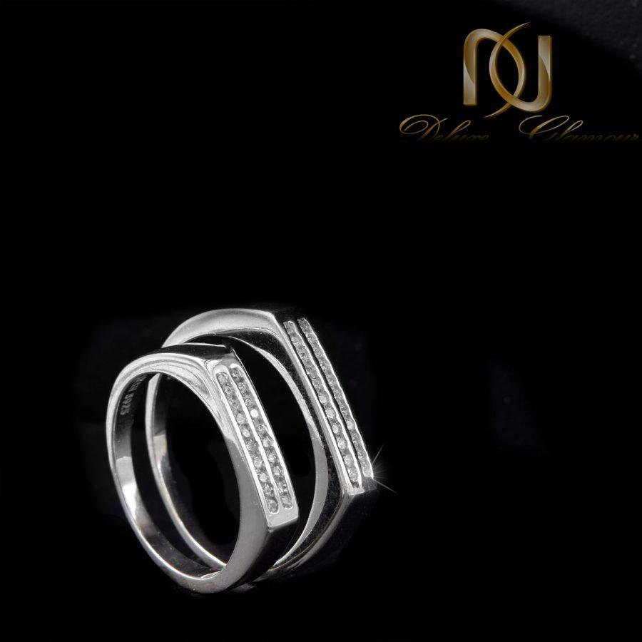 حلقه ست نقره ازدواج طرح طلا rg-n503 از نمای مشکی