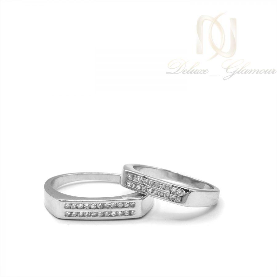 حلقه ست نقره ازدواج طرح طلا rg-n503 از نمای روبرو