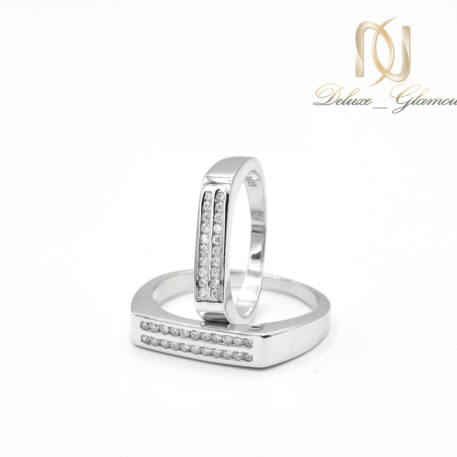 حلقه ست نقره ازدواج طرح طلا rg-n503 از نمای دور