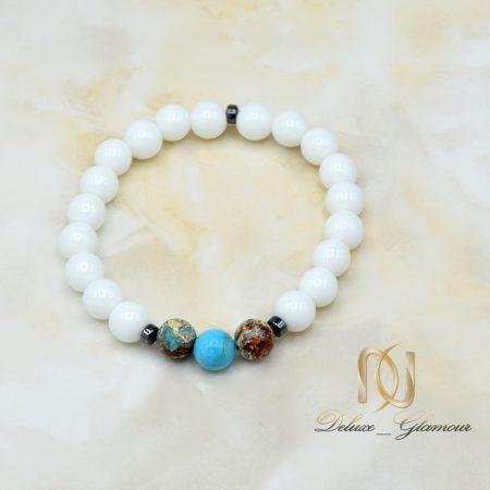 دستبند دخترانه سنگ اونیکس سفید za-n423