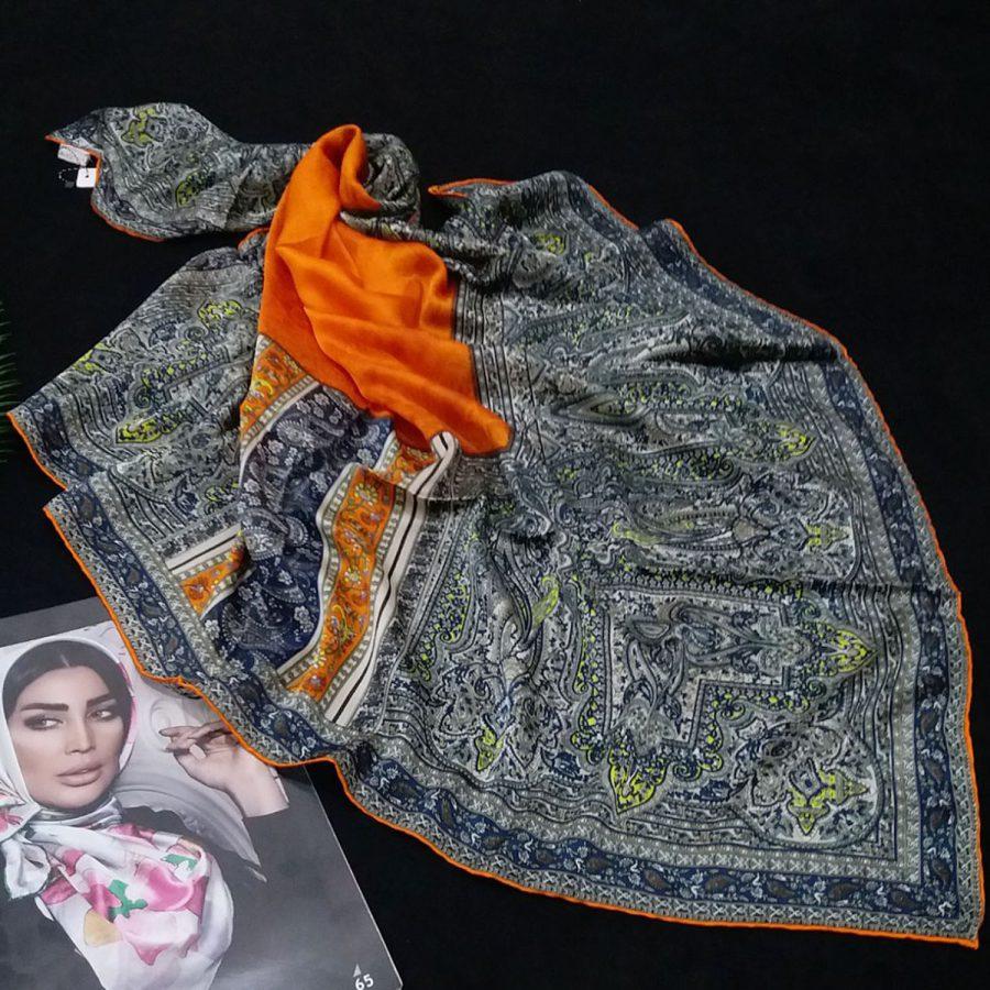 روسری مام ابریشم طرح کلاسیک پرتقالی از نمای روبرو