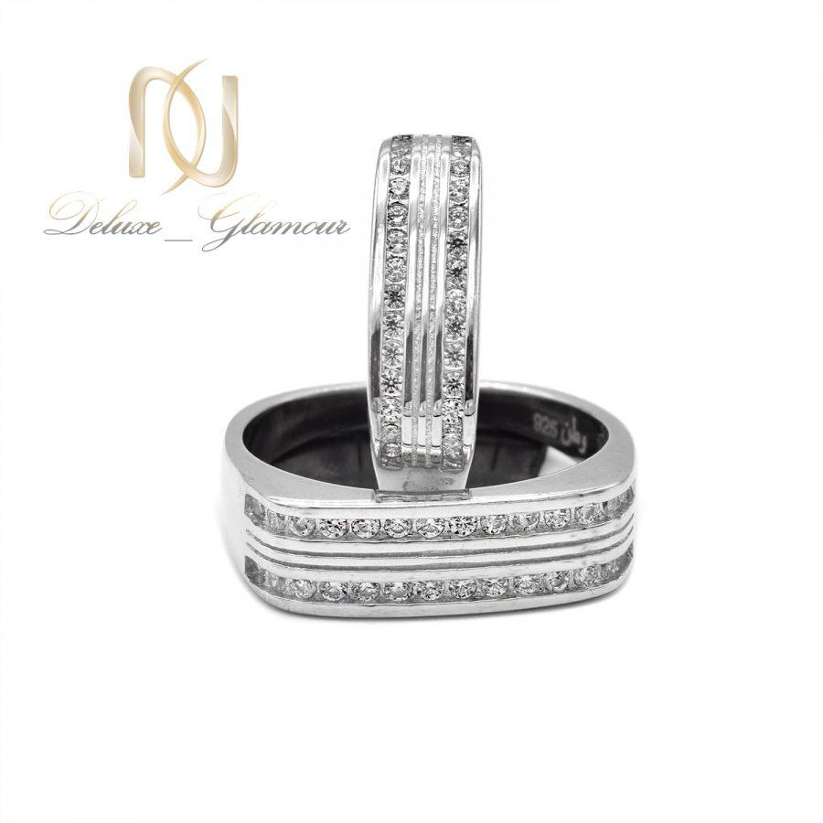 ست حلقه نقره طرح طلا سفید rg-n520 از نمای جدید