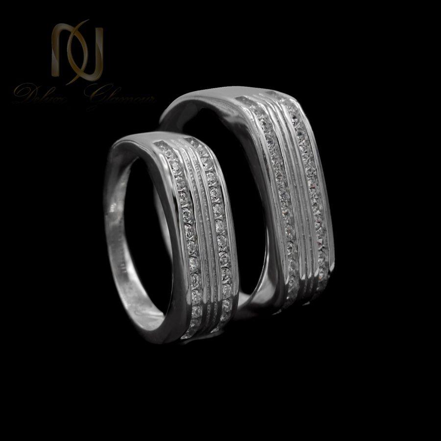 ست حلقه نقره طرح طلا سفید rg-n520 از نمای مشکی