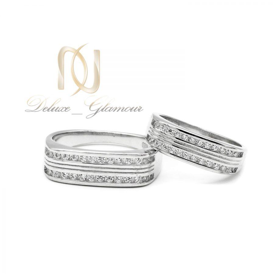 ست حلقه نقره طرح طلا سفید rg-n520 از نمای سفید