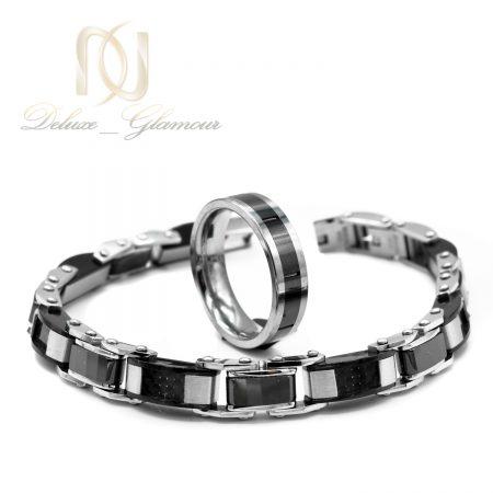 ست دستبند و انگشتر مردانه تنگستن ns-n556 از نمای نزدیک