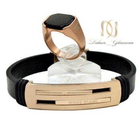 ست مردانه دستبند و انگشتر مونت بلانک ns-n555 از نمای سفید
