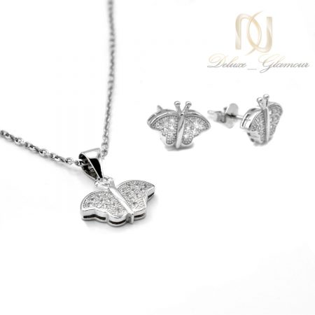 نیم ست دخترانه نقره طرح پروانه ns-n546 از نمای سفید