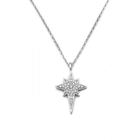 گردنبند دخترانه نقره طرح ستاره nw-n693 از نمای سفید