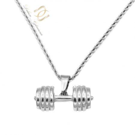 گردنبند دمبل نقره ای مردانه استیل nw-n696 از نمای روبرو