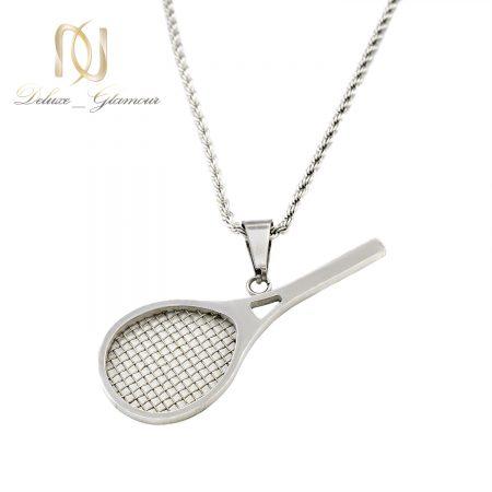 گردنبند راکت تنیس استیل نقره ای nw-n701 از نمای سفید