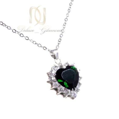 گردنبند زنانه نگین سبز طرح قلب ma-n508 از نمای سفید