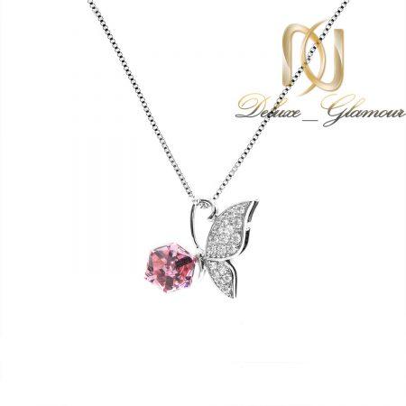 گردنبند سواروسکی دخترانه طرح پروانه nw-n690 از نمای سفید