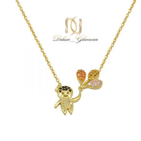 گردنبند نقره بچگانه طلایی نگین دار nw-n691 از نمای سفید