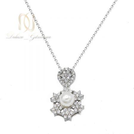 گردنبند نقره دخترانه مرواریدی ظریف nw-n682 از نمای سفید