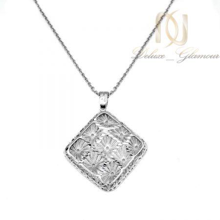 گردنبند نقره زنانه تراش طرح طلا nw-n683 از نمای سفید