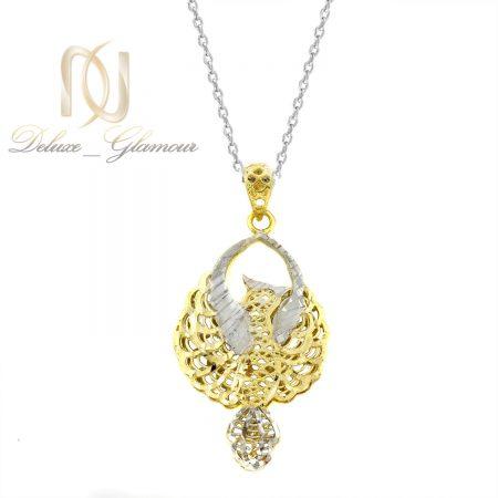 گردنبند نقره زنانه طرح طلای دو رنگ nw-n694 از نمای سفید