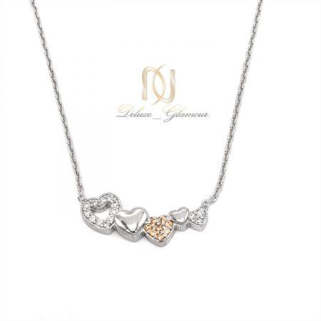 گردنبند دخترانه قلب نگین شامپاینی nw-n689