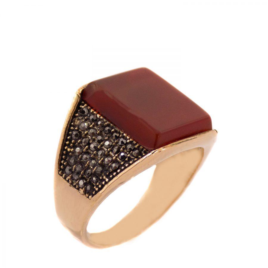 انگشتر مردانه استیل طرح عقیق ma-n510 از نمای روبرو