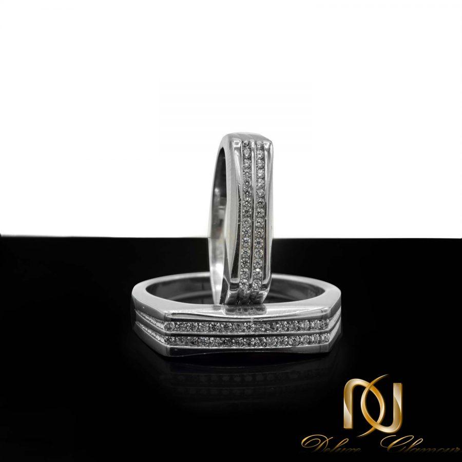 حلقه ست نقره ازدواج طرح طلا rg-n510 از نمای روبرو