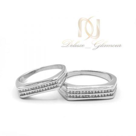 حلقه ست نقره ازدواج طرح طلا rg-n510 از نمای سفید