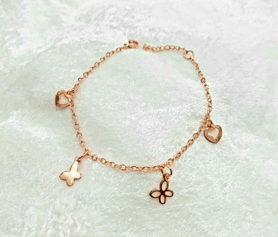 دستبند دخترانه آویزدار استیل ba-n160 از نمای بالا