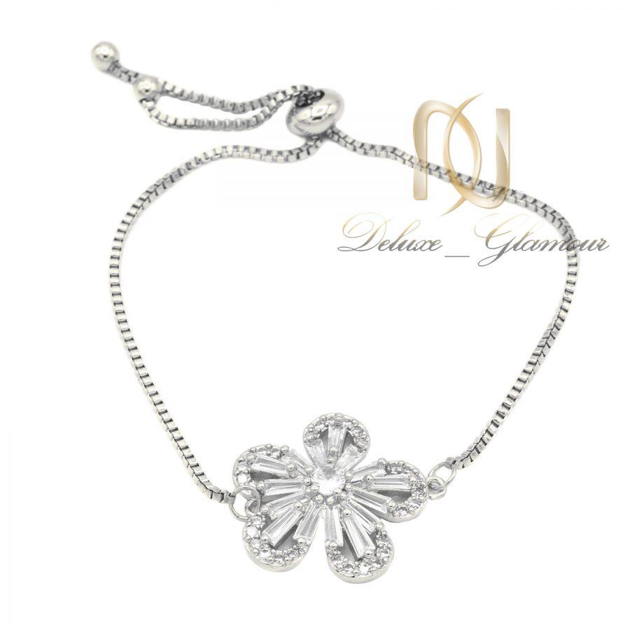 دستبند دخترانه استیل خاص نقره ای ds-n632 از نمای سفید