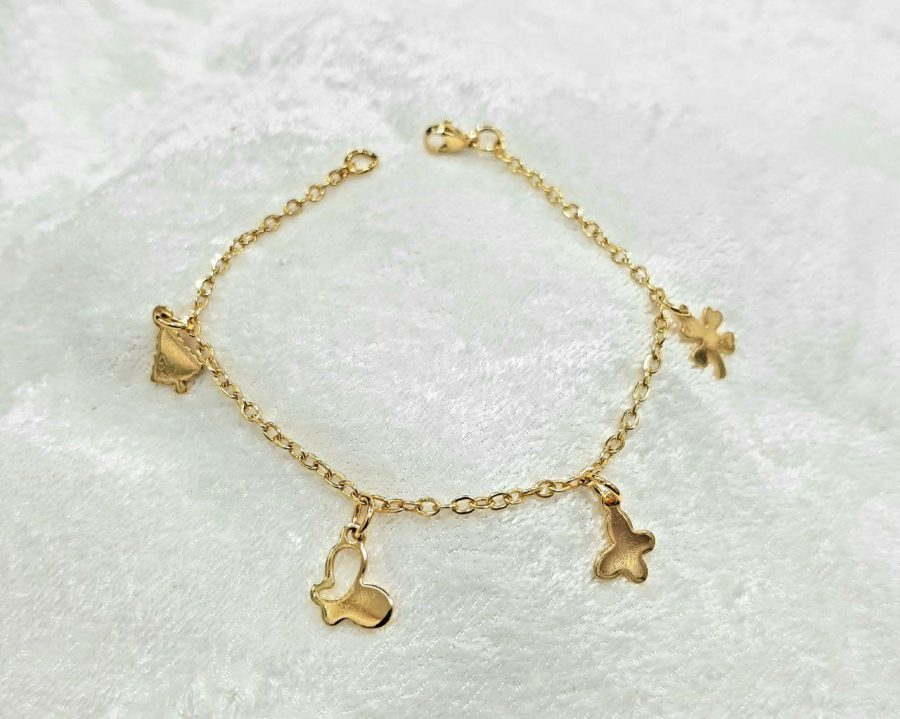 دستبند دخترانه استیل طلایی ba-n159 از نمای بالا