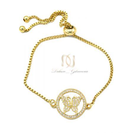 دستبند دخترانه طلایی طرح پروانه ds-n628 از نمای سفید