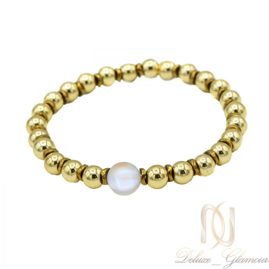 دستبند سنگ حدید دخترانه دست ساز ds-n426 از نمای سفید
