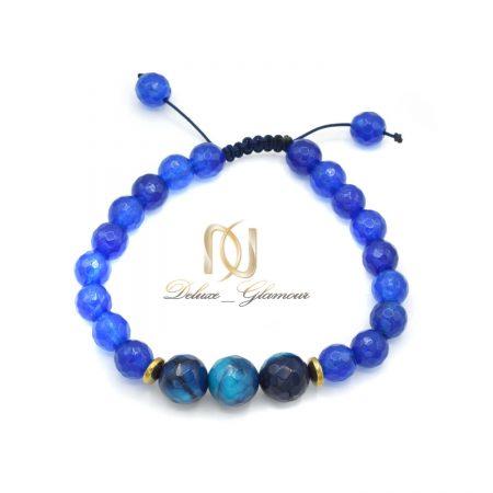 دستبند سنگ عقیق آبی دخترانه za-n424