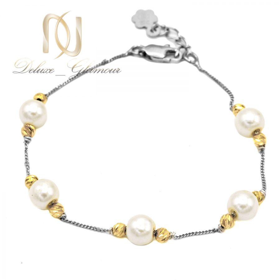 دستبند مرواریدی نقره ظریف ds-n629 از نمای سفید