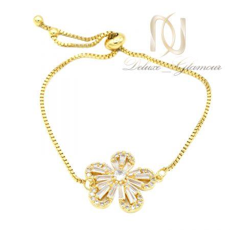 دستبند گل استیل دخترانه طلایی ds-n631 از نمای سفید