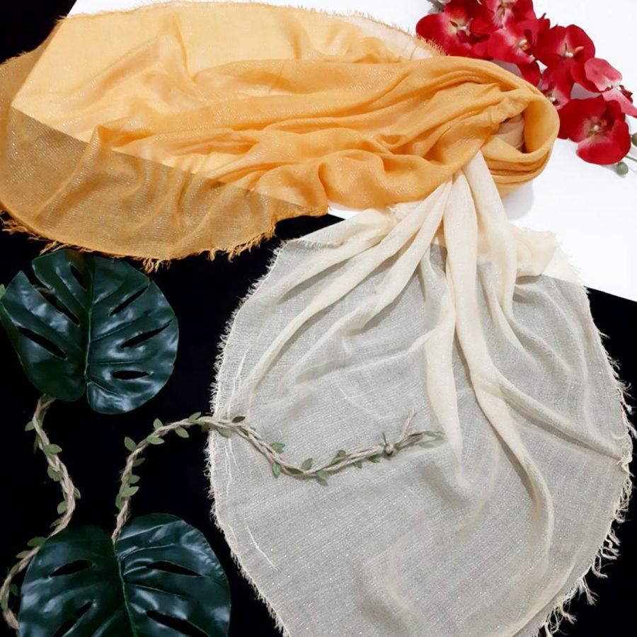 روسری نخی ریشه سوزنی نارنجی از نمای کلی