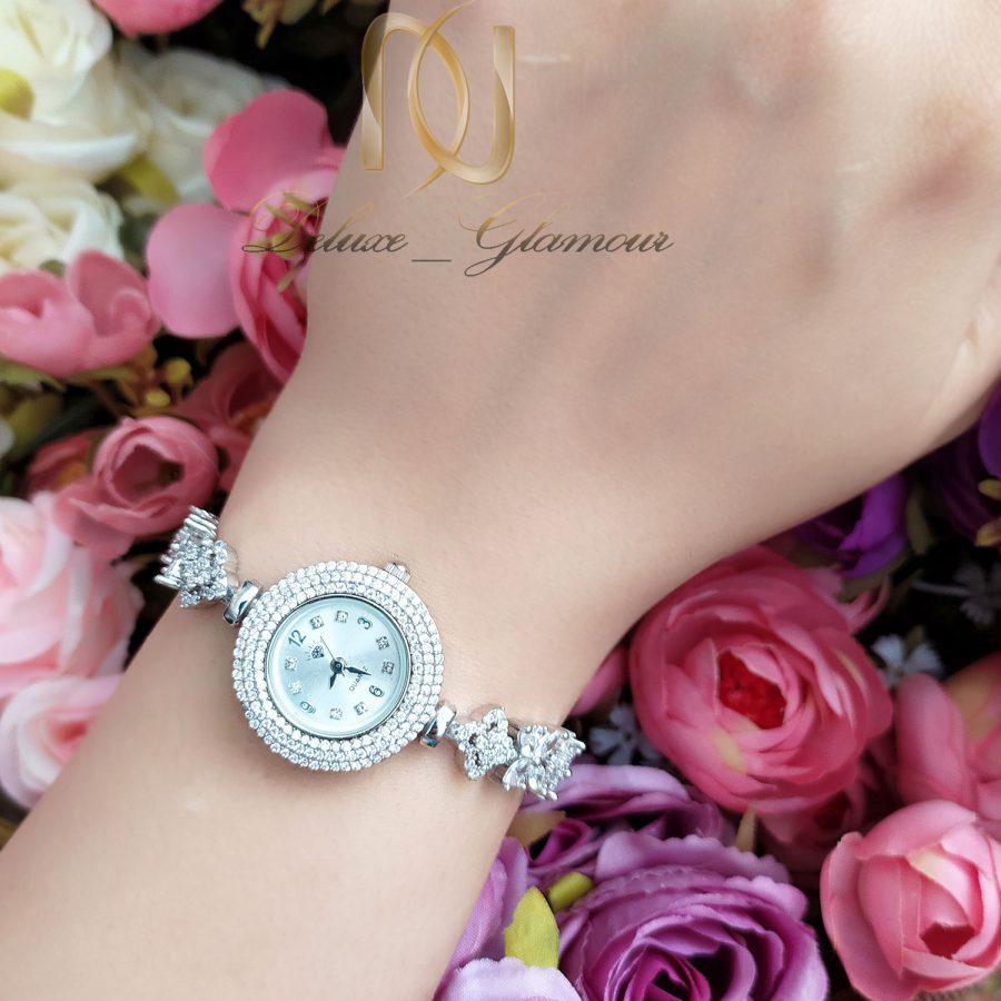 ساعت نقره جواهری خاص زنانه sh-n198 از نمای روی دست