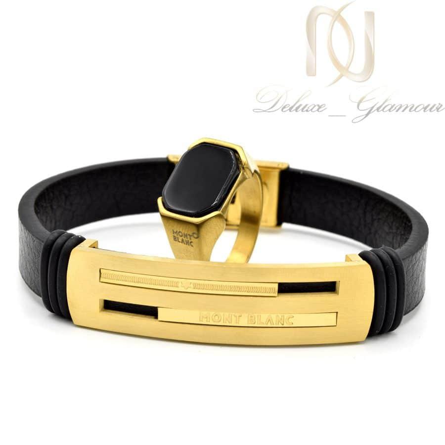 ست دستبند و انگشتر مونت بلانک طلایی ns-n562 از نمای روبرو