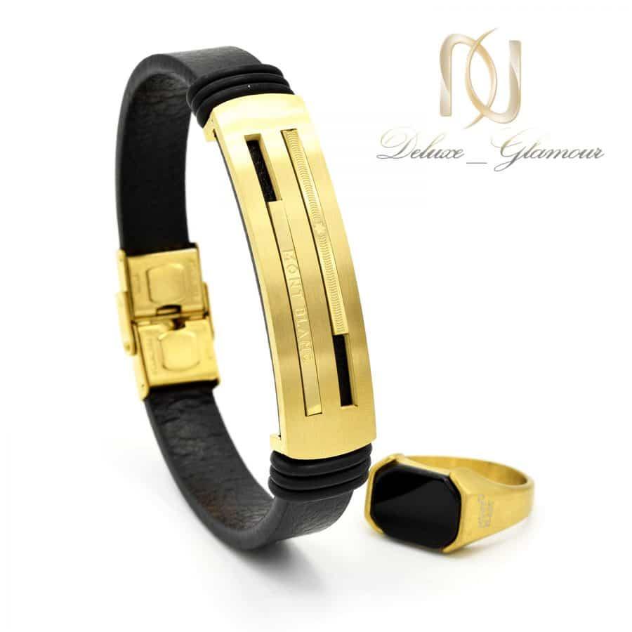 ست دستبند و انگشتر مونت بلانک طلایی ns-n562 از نمای جدید