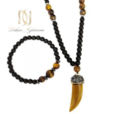 ست دستبند و گردنبند اسپرت سنگی za-n428