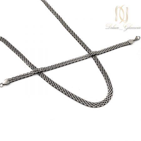 ست دستبند و گردنبند مردانه زنجیری استیل ns-n031