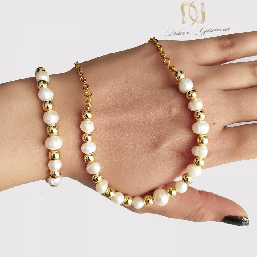 ست دستبند و گردنبند مرواریدی جدید za-n429 از نمای روی دست