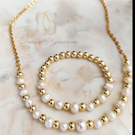 ست دستبند و گردنبند مرواریدی جدید za-n429
