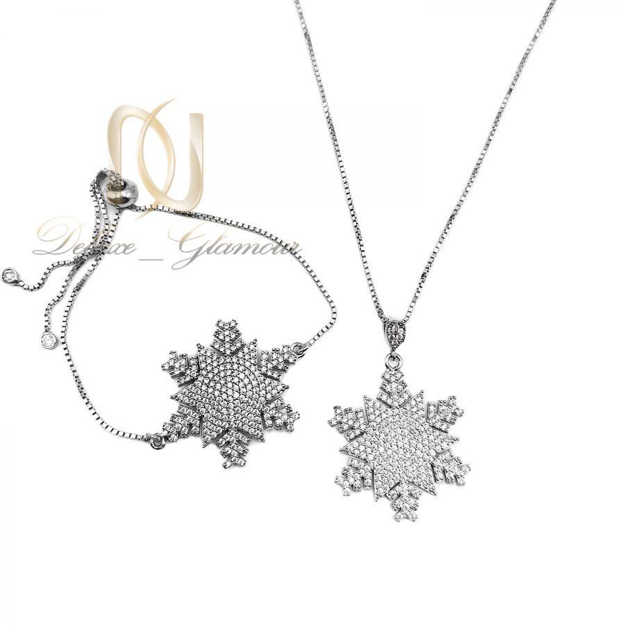 ست دستبند و گردنبند نقره دونه برف ns-n644 از نمای سفید