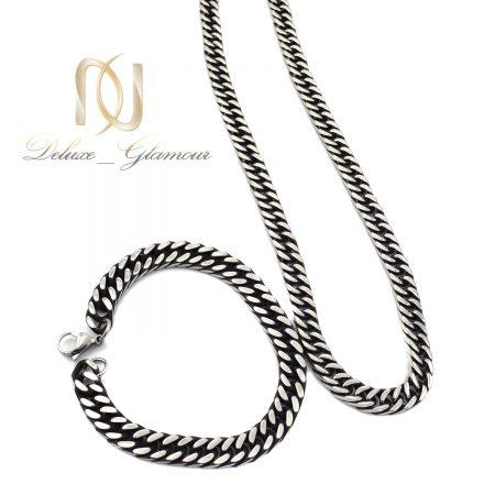 ست گردنبند و دستبند مردانه استیل ns-n563 از نمای سفید